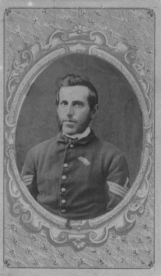 Black and white photo of Enos H. Kirk in uniform as 1st Sergeant of Company E, 80th Indiana Volunteer Infantry Regiment, circa 1862-1864, original image.