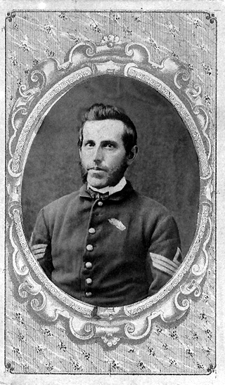 Black and white photo of Enos H. Kirk in uniform as 1st Sergeant of Company E, 80th Indiana Volunteer Infantry Regiment, circa 1862-1864, restored image.