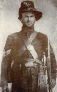Half tone photograph taken circa September, 1862, of 1st Sergeant James F. Cantwell of Company G standing in his Civil War uniform