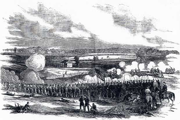 Illustration by H. Mosler of the 80th Indiana in the Battle of Perryville, Kentucky
