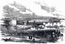 Pen & ink drawing by H. Mosler of 80th Indiana at Battle of Perryville (Chaplin Hills) Kentucky on October 8, 1862.  Shows 80th in foreground, supporting the 19th Indiana Light Artillery on right in middle ground and the attack of Confederate forces commanded by Major General Bejamin Cheatham in center middle ground.  Illustration first published in Harper's Weekly on November 1, 1862.