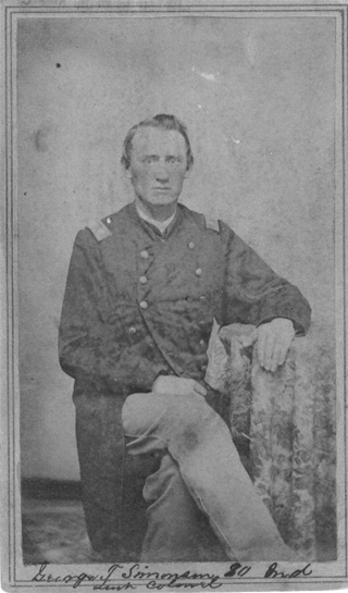 Black and white photo of George T. Simonson in uniform as Major of 80th Indiana Volunteer Infantry Regiment, circa late 1862 or early 1863, original image.