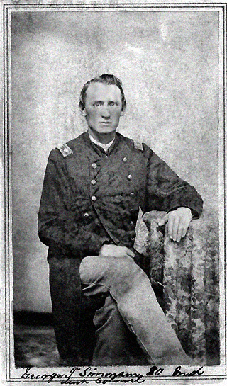 Black and white photo of George T. Simonson in uniform as Major of 80th Indiana Volunteer Infantry Regiment, circa late 1862 or early 1863, enhanced image.