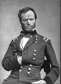 Black and white photograph of Major General William T. Sherman in his officer's uniform